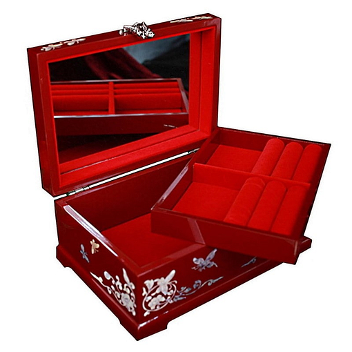 Vue de 3/4 de la boîte à bijoux originale rouge papillons (ouverte)