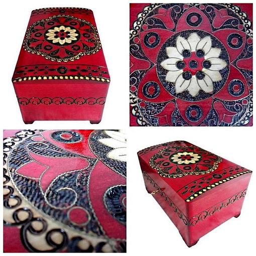 Collage de 4 photos de détails de la boîte à bijoux originale rouge rosace