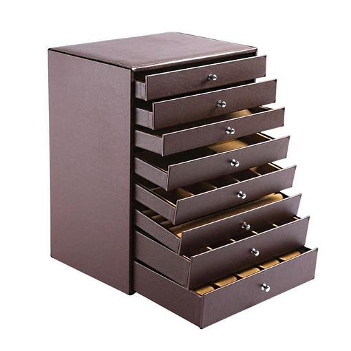 Vue de 3/4 de la grande boîte à bijoux 8 étages en cuir marron (ouverte)
