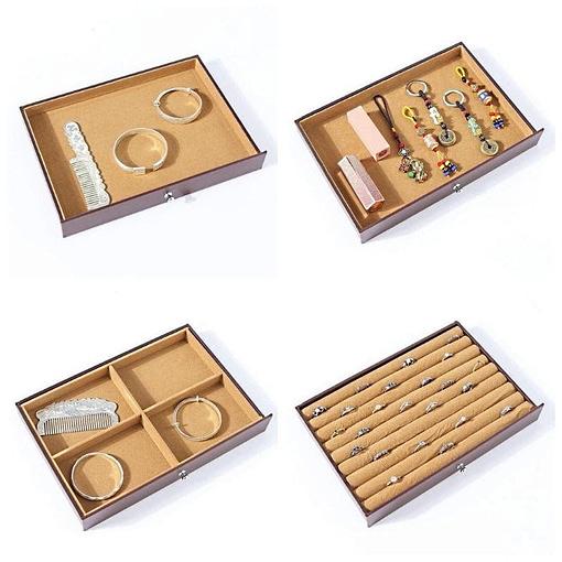 Collage des photos des 4 premiers tiroirs de la grande boîte à bijoux 8 étages en cuir marron