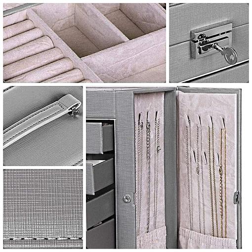 Photos de détails de la grande boîte à bijoux en cuir à 5 tiroirs gris