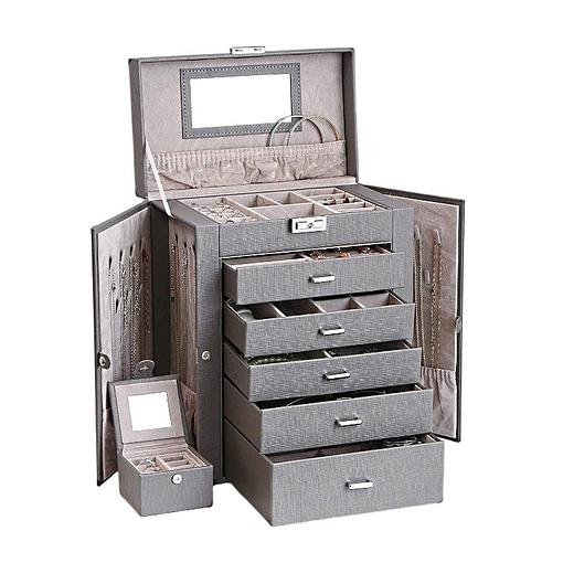Vue de 3/4 de la grande boîte à bijoux en cuir à 5 tiroirs gris (ouverte)