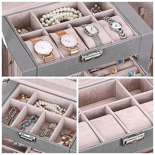 Plateau supérieur de la grande boîte à bijoux en cuir à 4 tiroirs gris