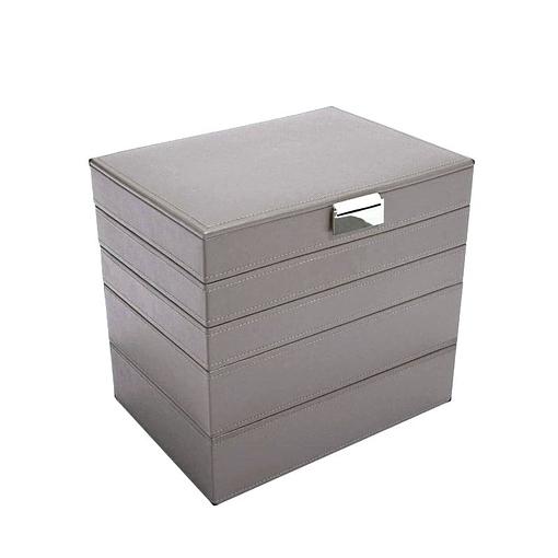 Vue de 3/4 de la grande boîte à bijoux en cuir gris à 5 compartiments (fermée)