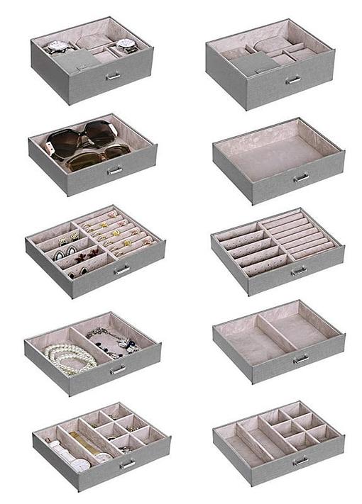 Les compartiment de la grande boîte à bijoux en cuir à 5 tiroirs gris sont présentés : avec et sans bijoux (10 petites photos)