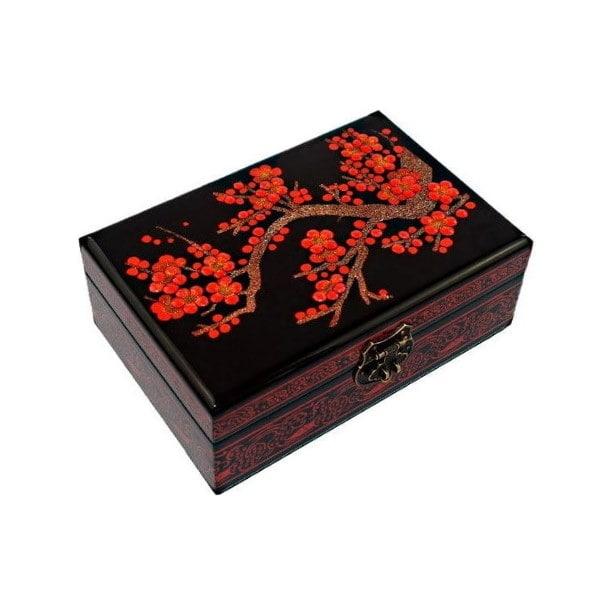 Vue de 3/4 du dessus de la boîte représentant les fleurs rouge d'un cerisier
