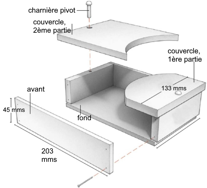Dessin annoté de la boîte à bijoux à couvercle pivotant (dimensions, composants...)