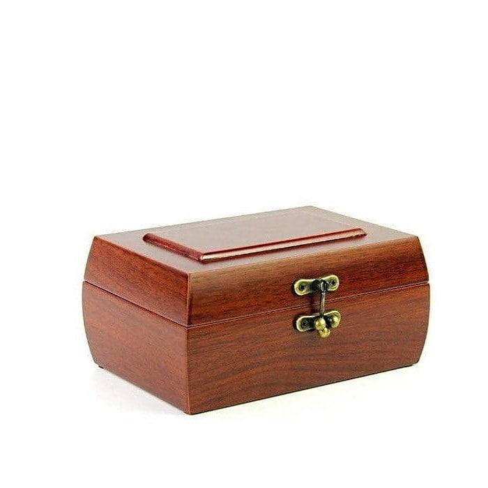 Vue de 3/4 de la boîte à bijoux en bois fermoir (ouverte)