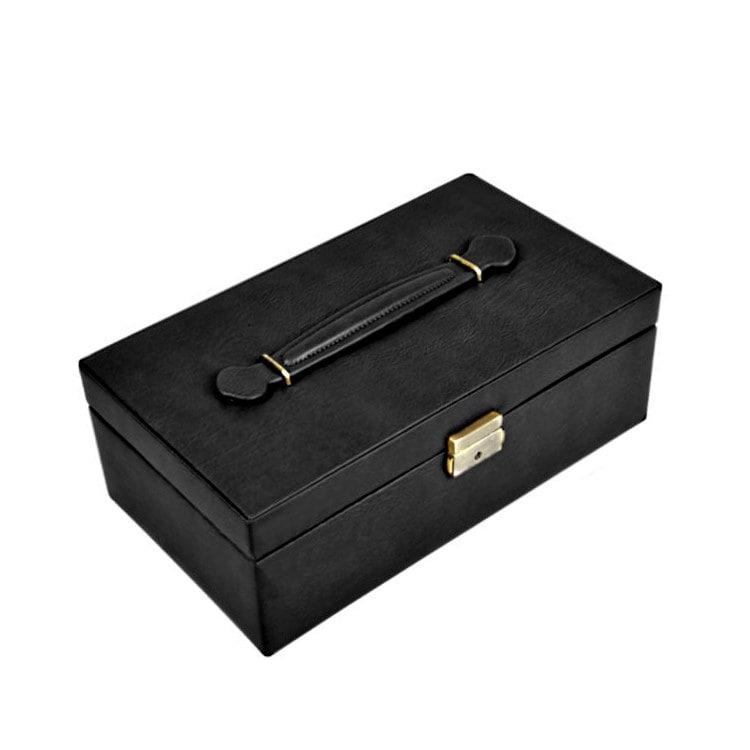 Vue de 3/4 de la boîte à bijoux en cuir pour montres (fermée)