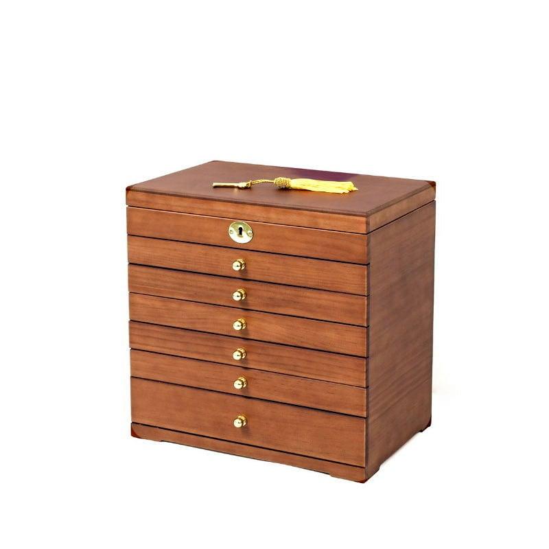 Vue de 3/4 de la grande boîte à bijoux à 6 tiroirs (fermée)