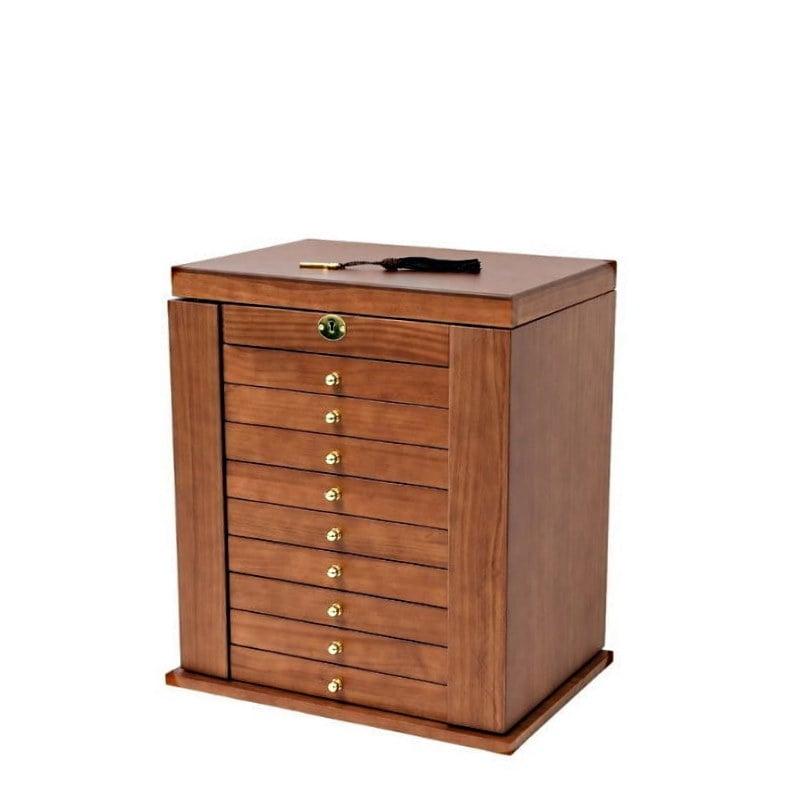 Vue de 3/4 de la grande boîte à bijoux à 9 tiroirs (fermée)