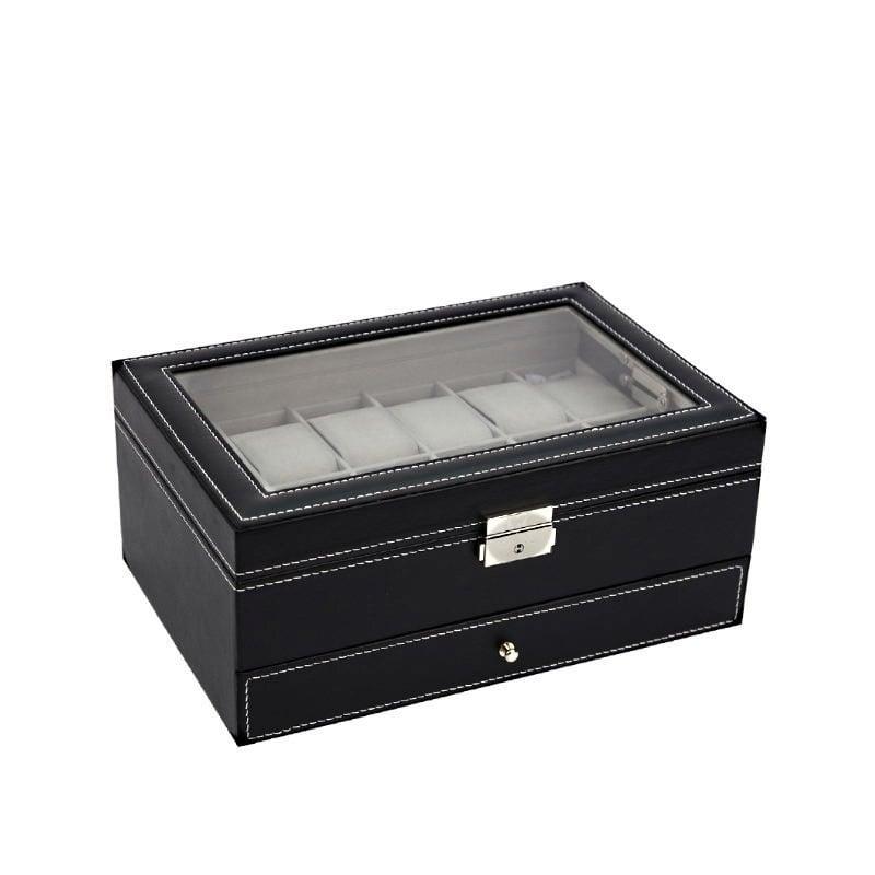 Vue de 3/4 de la boîte à bijoux en cuir 'joyaux et montres', fermée