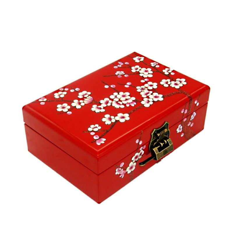 Vue de 3/4 de la boîte à bijoux originale 'cerisier' rouge (fermée)