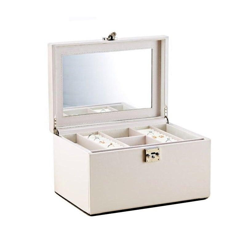 Vue de 3/4 de la boîte à bijoux en cuir modulable blanc ouverte