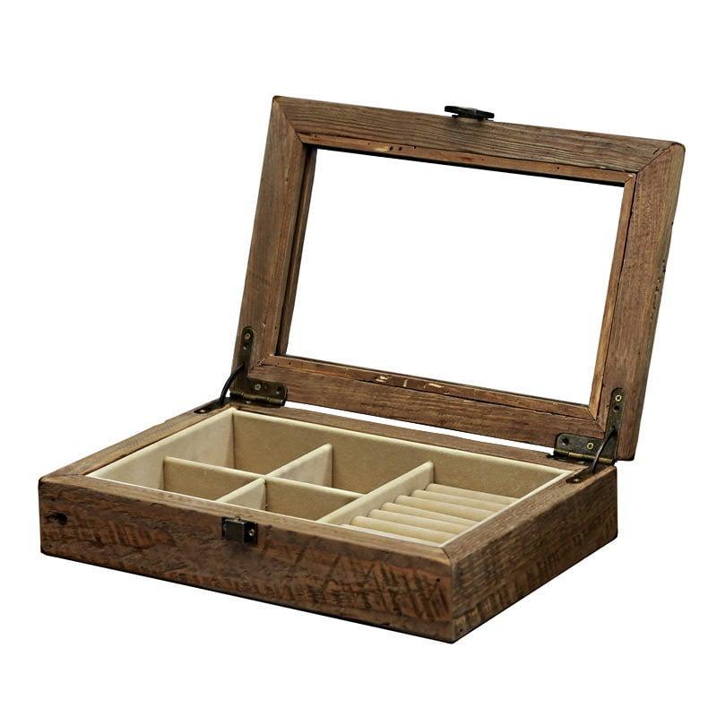 Vue de 3/4 de la boîte à bijoux en bois 'rustique' (ouverte, plateau apparent)