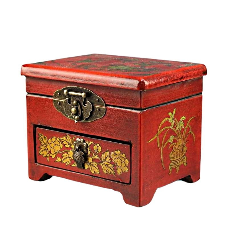 Vue de 3/4 de la boîte à bijoux originale 'mésanges' (fermée)