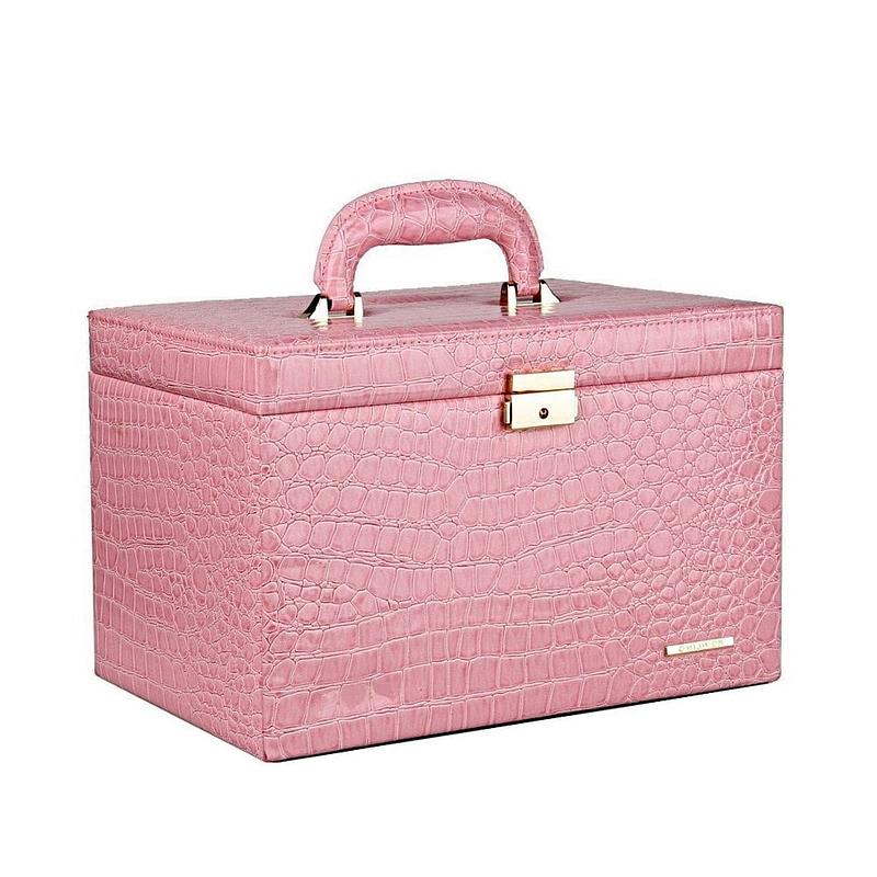 Vue de 3/4 de la grande boîte à bijoux en cuir rose compartimentée