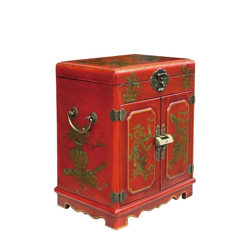Vue de 3/4 de l'armoire à bijoux originale (fermée)