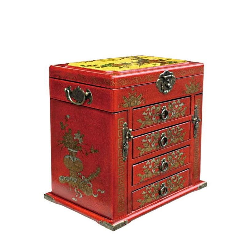 Vue de 3/4 de la boîte à bijoux originale rouge à 4 tiroirs (fermée)
