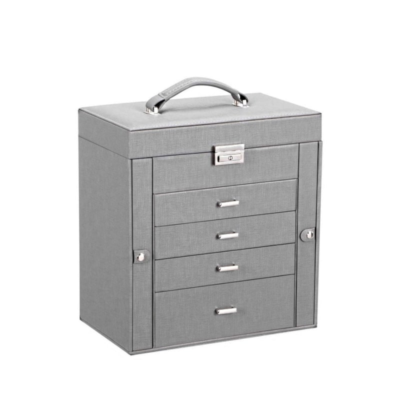Vue de 3/4 de la grande boîte à bijoux en cuir à 4 tiroirs gris (fermée)