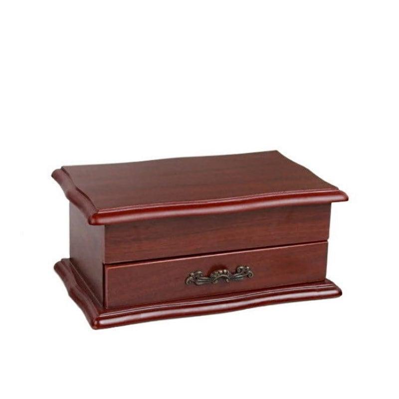 Vue de 3/4 de la boîte à bijoux en bois sarcophage à tiroir (fermée)