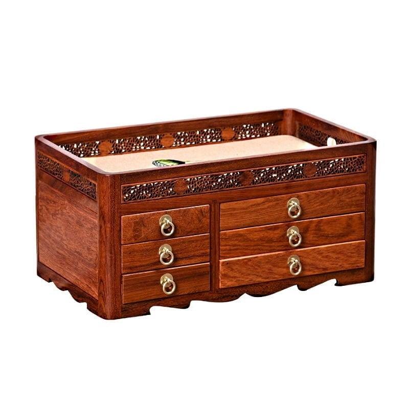 Vue de 3/4 de la grande boîte à bijoux en bois originale (fermée)
